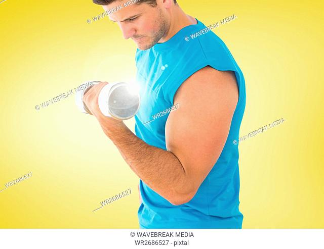 Man weightlifting with flare and yellow background