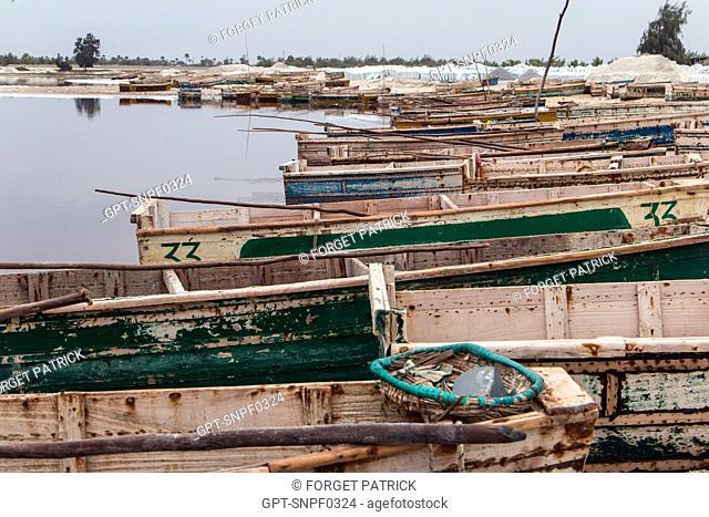 THE BOATS OF THE SALT GATHERERS, LAKE RETBA, SENEGAL, WEST AFRICA