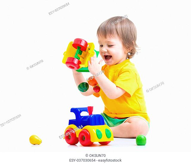 child boy toddler playing with toy isolated