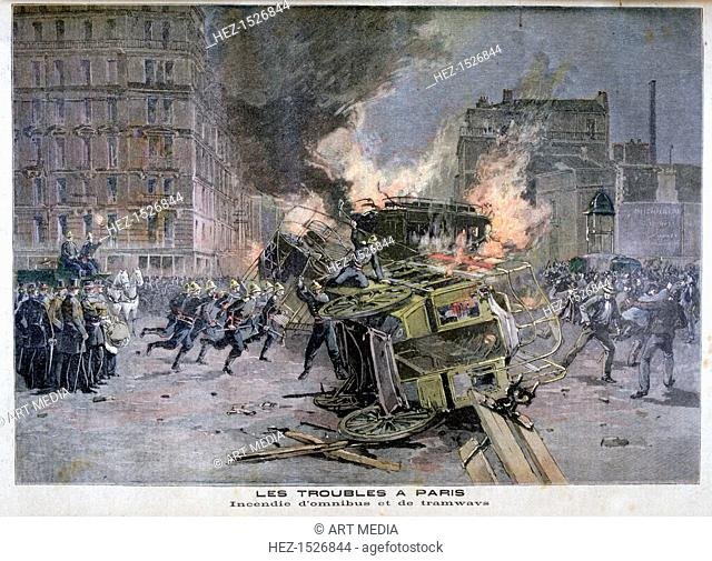 Riots in Paris, 1897. An illustration from Le Petit Journal, 22nd July 1897