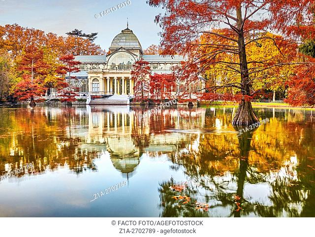 The Palacio de Cristal (Crystal Palace), located in the heart of The Buen Retiro Park. Madrid. Spain