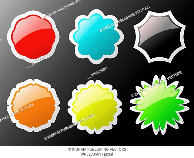 Collection of six buttons in different colors with a white border
