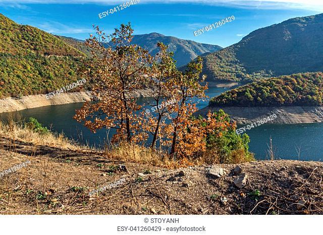 Autumn landscape of the Vacha (Antonivanovtsy) Reservoir, Rhodopes Mountain, Bulgaria