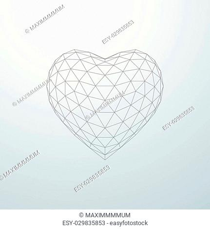 Happy Valentines Day. 3D heart shape of particle array and wireframe. Vector illustration