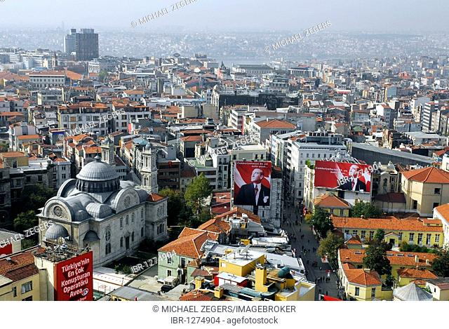 View from a rooftop at Taksim Square, the view along the Istiklal Caddesi, Beyoglu, Istanbul, Turkey