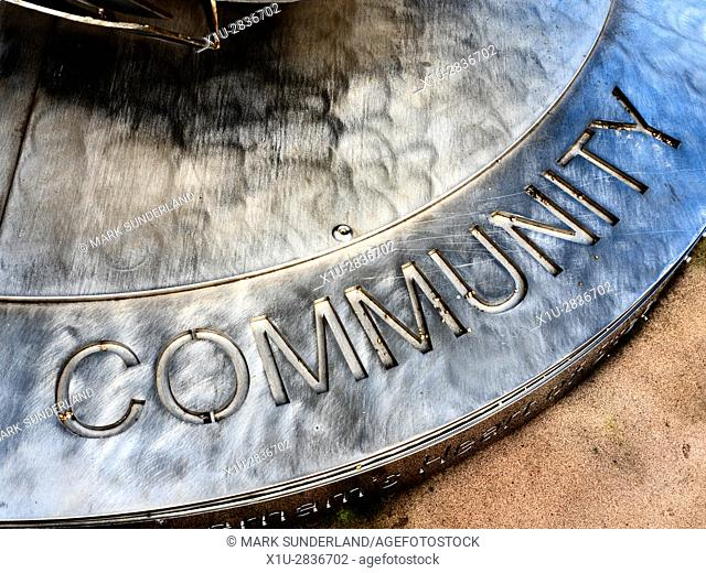 Community Inscription on the Plinth of the Heart of Steel Sculpture by Steve Mehdi in Minster Gardens Rotherham South Yorkshire England