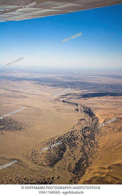 An aerial view of the Kuiseb riverbed and the Namib Naukluft Park in Namibia, Africa