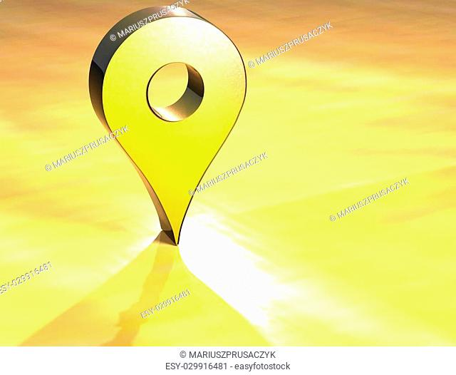 3D Map Pin Gold Sign over yellow background