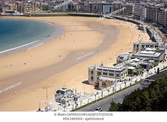 La Concha Beach, San Sebastian, Donosti, Guipuzcoa, Basque Country. Spain