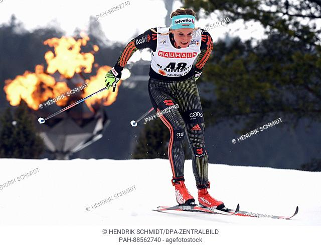 Nicole Fessel from Germany in action during the women's cross country 10km event at the Nordic Ski World Championship in Lahti, Finland, 28 February 2017