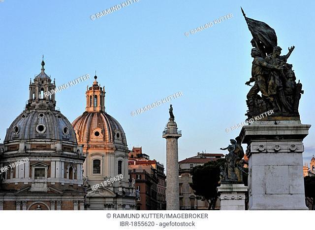 Tambour domes of the churches of Santa Maria di Loreto and Santissimo Nome di Maria al Foro Traiano or Church of the Most Holy Name of Mary at the Trajan Forum