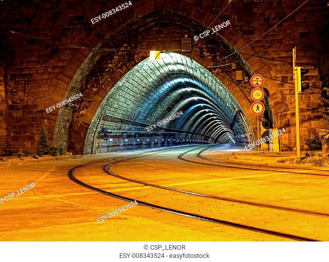 Empty tunnel for the city tram
