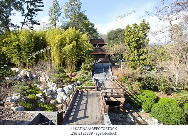 A walkway through the Japanese Gardens at Huntington Library and Gardens in San Marino, California, USA