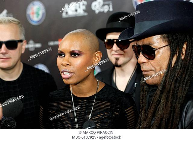 Close-up of the members of the British band Skunk Anansie during an interwiev on the red carpet of the charity concert Bocelli and Zanetti Night at the Open Air...