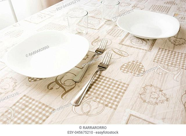 table set for lunch with natural light