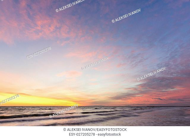 Beautiful sky at sunset on the sea shore, Black sea, Anapa, Russia