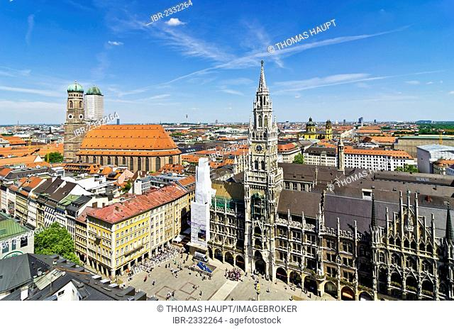 View from St. Peter's Church, Alter Peter, to Marienplatz square, Frauenkirche, Church of Our Lady and the New Town Hall, Munich, Upper Bavaria, Bavaria