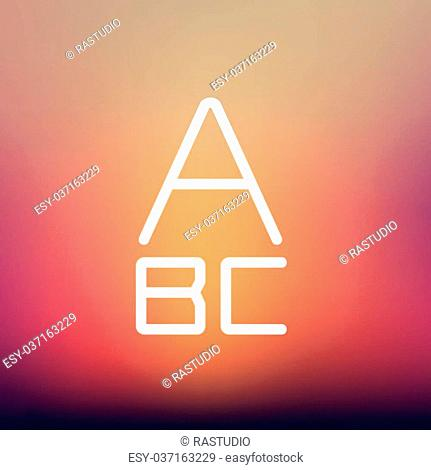 Alphabet with bold font icon thin line for web and mobile, modern minimalistic flat design. Vector white icon on gradient mesh background