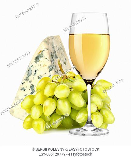 Wineglass and grapes isolated on a white background
