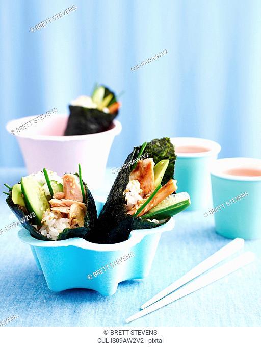 Sushi rolls in bowl, kids lunch idea