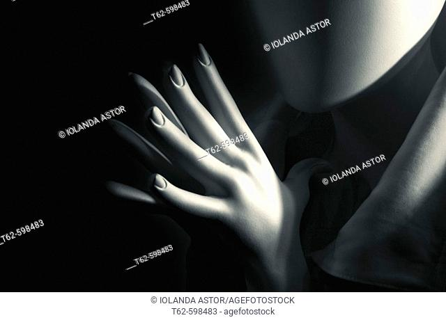 Detail of dummy's hands