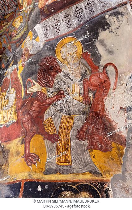 Frescoes in the Rock Church, Sumela Monastery or Sümela Manastiri, Trabzon Province, Pontic Mountains, Black Sea Region, Turkey