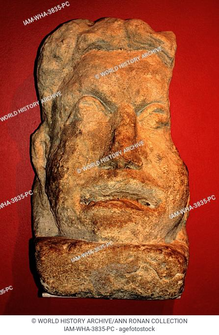 Roman theatrical mask. Sculpture in local bath stone, most likely from a large tomb. The deceased may have had a connection with theatre