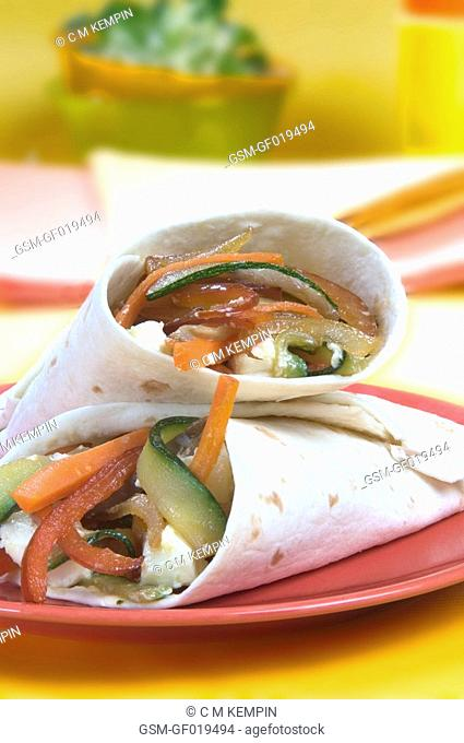 Pita with goat cheese, vegetables, and wild mushrooms