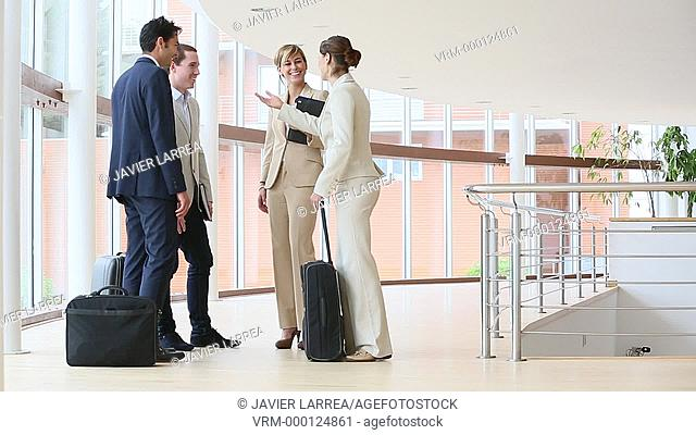 Executives greeting, Congress building, Business, San Sebastian Technology Park, Donostia, San Sebastian, Gipuzkoa, Basque Country, Spain