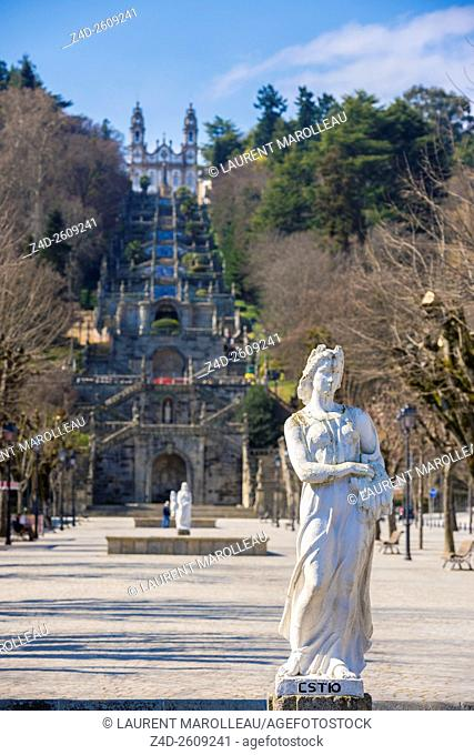 Summer Statue and Sanctuary of Our Lady of Remedios, from Square of Alfredo de Sousa Avenue. Lamego, Viseu District, Norte Region, Portugal, Europe
