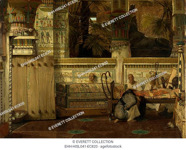 Egyptian Widow, by Lawrence Alma Tadema, 1872, English painting oil on canvas. Woman mourns at the inner mummy case of her husband