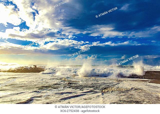 sea tempest in Bajamar municipality (Tenerife island) Spain