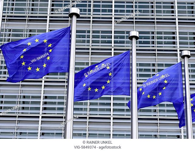 BELGIUM, BRUSSELS, 23.08.2017, BEL , BELGIUM : Flags of the EU in front of the Berlaymont building of the EU-Commission in Brussels , 23.08