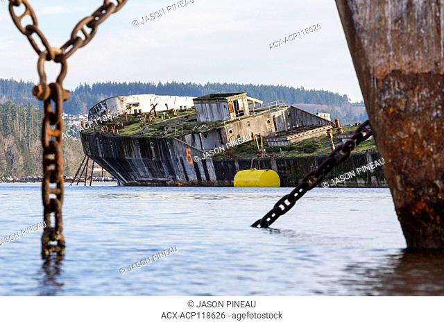 A concrete barge, used as a breakwater for Catalyst Paper's Mill in Powell River, British Columbia, Canada