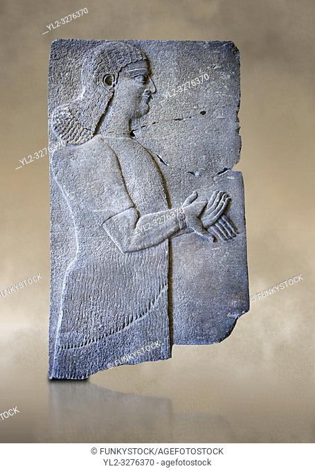 Stone relief sculptured panel of a Royal servant. From the palace of Teglat-phalasar II, Nimrud, third quarter of the 8th century BC