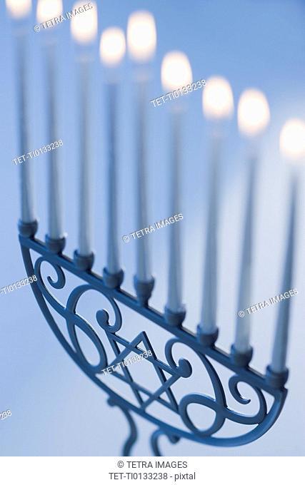 Close up of holiday menorah