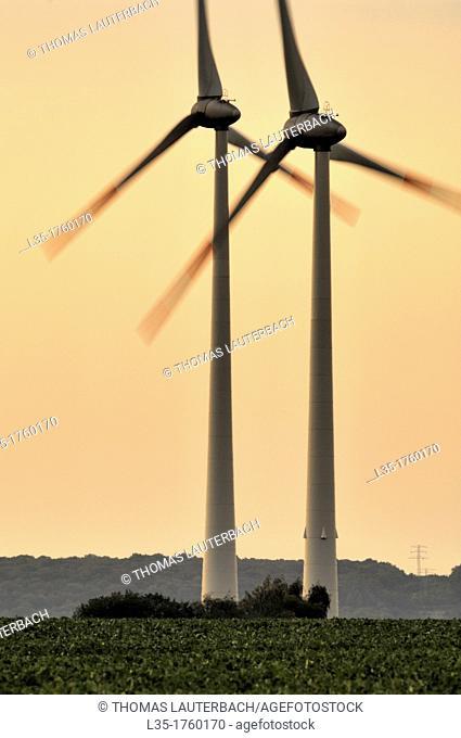 Large wind turbines Niedersachsen Germany, near Salzgitter