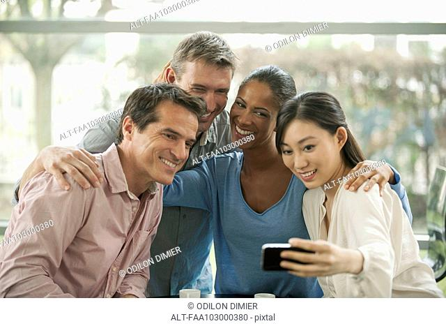 Friends posing together for selfie