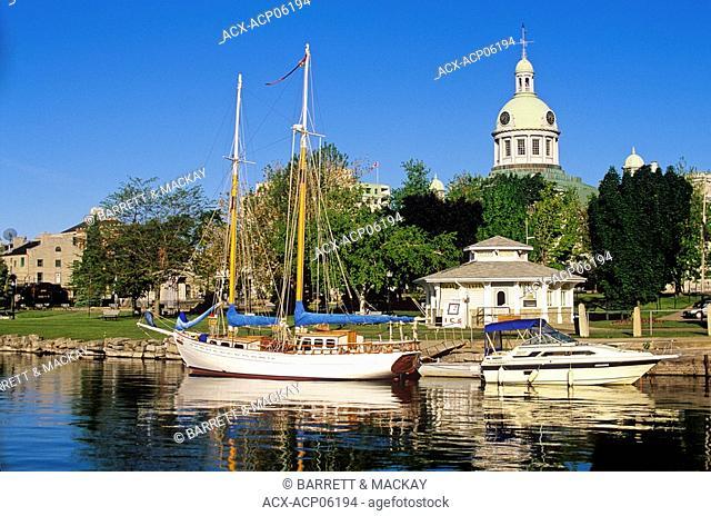 Sailboat docked at marina downtown Hamilton, Ontario, Canada