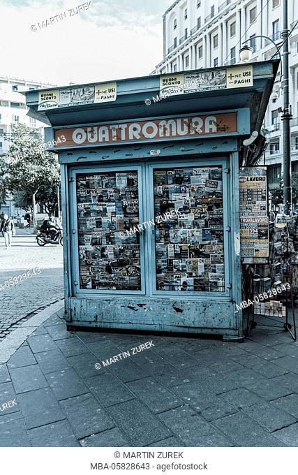 Streets scene, kiosk, Naples, Italy, Kampanien