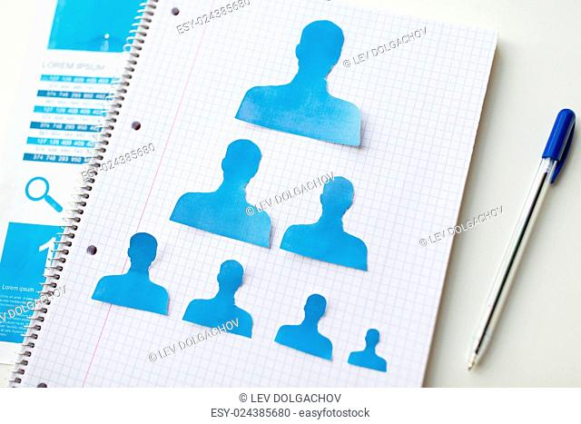 business, people, employment, career and hiring concept - close up of paper human shapes on notebook