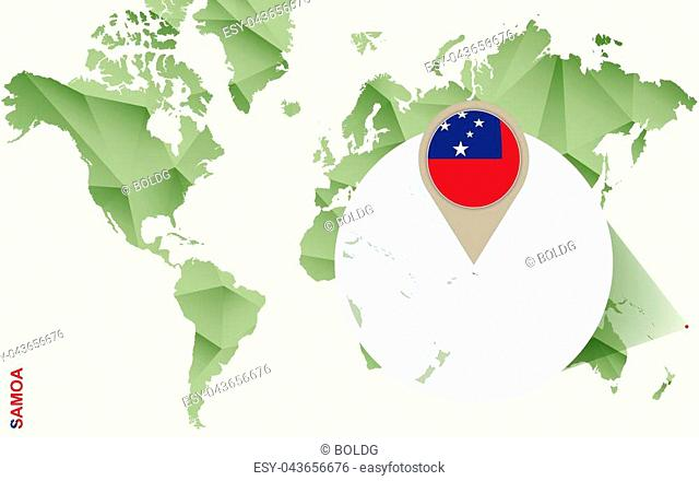 Infographic for Samoa, detailed map of Samoa with flag. Vector Info graphic green map