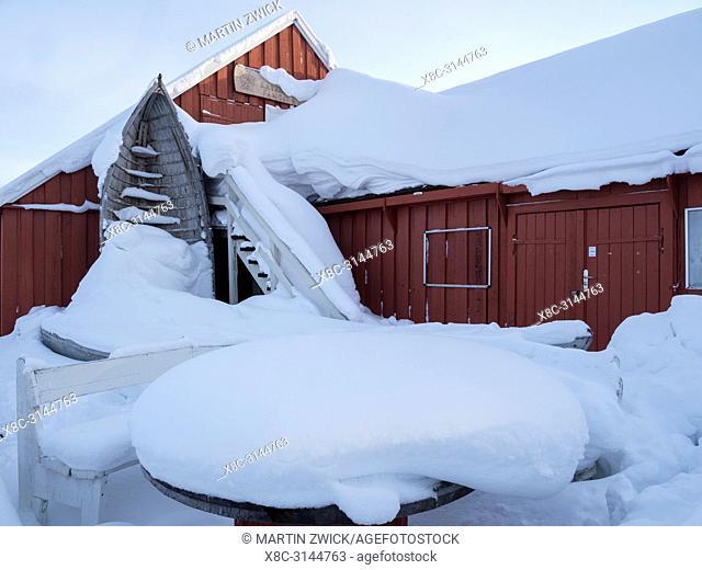 Museum of Fisheries Fangst of Fiskeri orr Aalisarnermut Piniarnermut Katersugaasivik. Town Ilulissat at the shore of Disko Bay in West Greenland