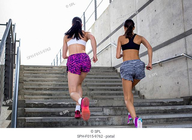 MODEL RELEASED. Two young women running up steps