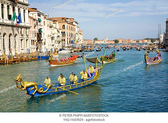 Decorated Boats on the Grand Canal in Venice for the 'Historical Regatta' which takes place each september