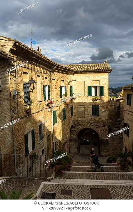 A typical alley and the architecture of the old town of Corinaldo Province of Ancona Marche Italy Europe