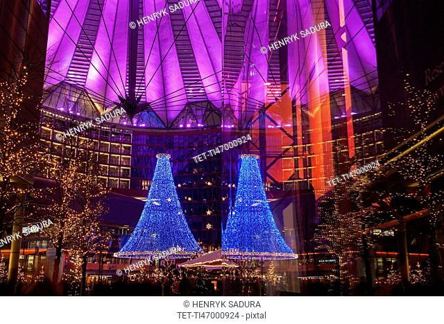 Illuminated decorations of Sony Center