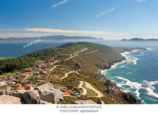 Panoramic view of the Cape Home with fog, Donon, Pontevedra province, Region of Galicia, Spain, Europe