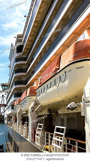 Lifeboats on Cunard liner Queen Victoria