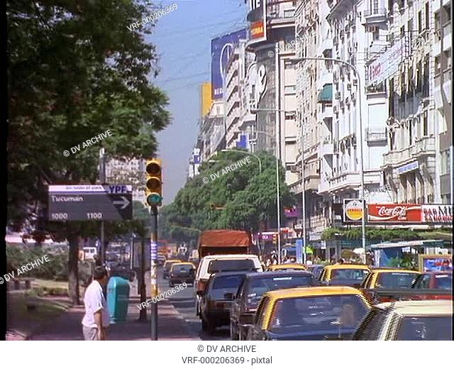 Traffic drives through Buenos Aires, Argentina